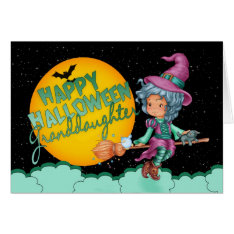 Granddaughter Halloween Card With Cute Witch at Zazzle