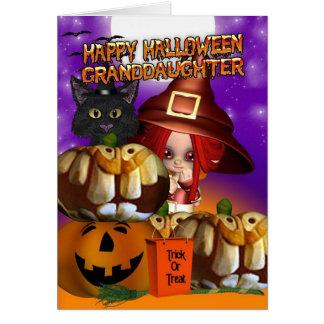 Granddaughter Halloween witch cat pumpkin jack o l Card