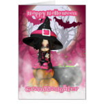 Granddaughter Halloween with Girlie Witch in pinks Greeting Cards