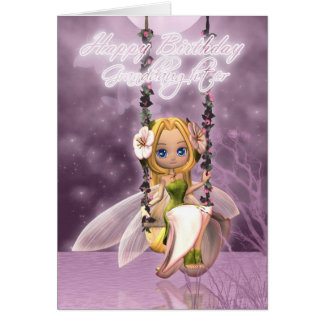 Granddaughter Happy Birthday cute fairy on flower Card