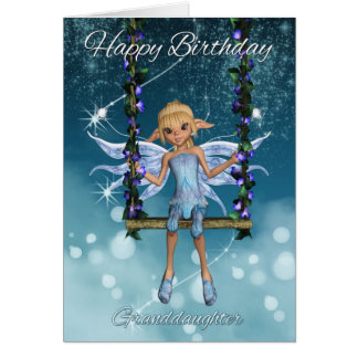 Granddaughter Happy Birthday cute fairy on swing Greeting Card