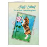 Granddaughter, Happy Birthday with a playful cat Greeting Card