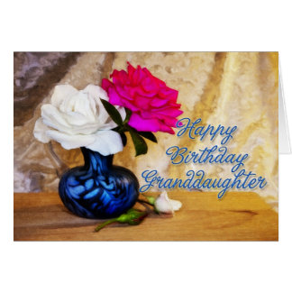 Granddaughter, Happy Birthday with painted roses Card
