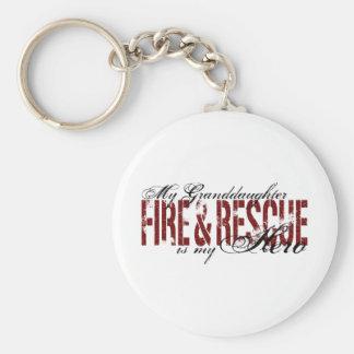 Granddaughter Hero - Fire & Rescue Basic Round Button Keychain