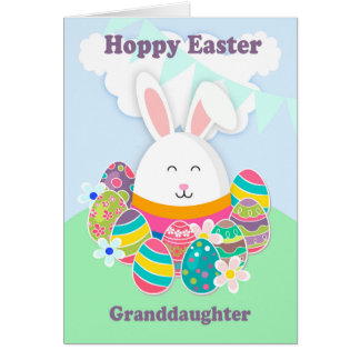 Granddaughter, Hoppy Easter With Rabbit, Card