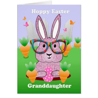 Granddaughter, Hoppy Easter With Rabbit Glasses Card