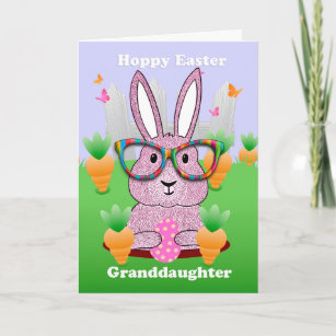 Granddaughter easter gifts on zazzle granddaughter hoppy easter with rabbit glasses holiday card negle Images