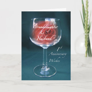 Granddaughter & Husband 1st Anniversary Wineglass Card