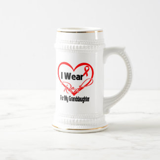 Granddaughter - I Wear a Red Heart Ribbon Coffee Mugs