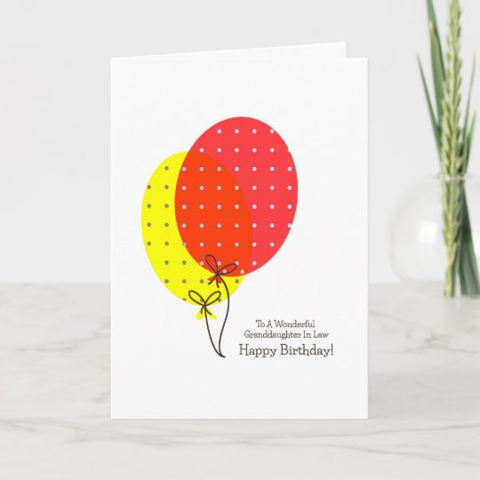 Granddaughter In Law Birthday Cards Balloons Zazzle