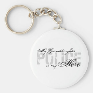Granddaughter Is My Hero - POLICE Basic Round Button Keychain