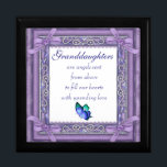 "Granddaughter Keepsake Box/Butterfly & Quote Gift Box<br><div class=""desc"">Granddaughters Keepsake Box/Purple with Hearts and Quote ""Granddaughters are angels sent from above to fill our hearts with unending love"". Size Large 7.125"" Square w/6"" Tile Display your favorite images on a vibrant tile inlaid into the lid of this beautiful jewelry box. Made of lacquered wood, the jewelry box comes...</div>"