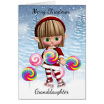 Granddaughter Little Elf With Candy Pops And Snow Greeting Card