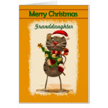 Granddaughter / Merry Christmas - Funky Cat Greeting Card