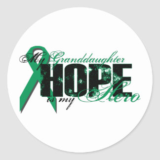 Granddaughter My Hero - Kidney Cancer Hope Classic Round Sticker