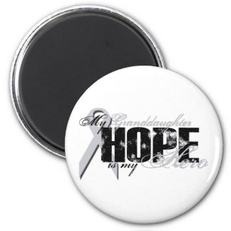 Granddaughter My Hero - Lung Hope 2 Inch Round Magnet