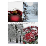 Granddaughter & Partner Merry Christmas! red winte Greeting Card