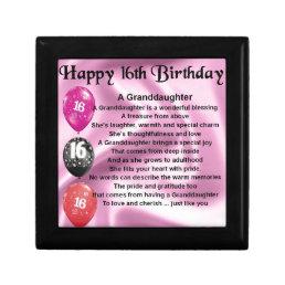 Granddaughter Poem 16th Birthday Gift Box
