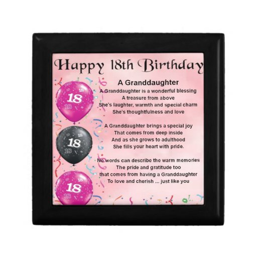 Granddaughter Poem - 18th Birthday Jewelry Boxes