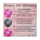 """Granddaughter Poem - 18th Birthday Tile<br><div class=""""desc"""">A great gift for a special granddaughter on her 18th Birthday</div>"""