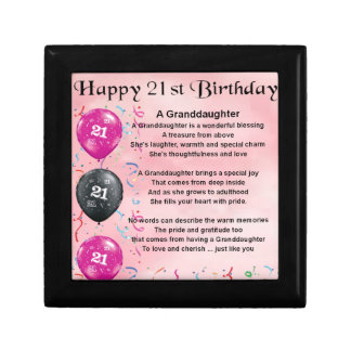 Granddaughter Poem - 21st Birthday Jewelry Box
