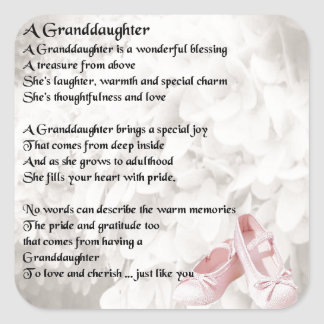 Granddaughter Poem - Ballet Shoes Design Square Sticker
