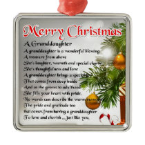 Granddaughter Poem - Christmas Design Metal Ornament