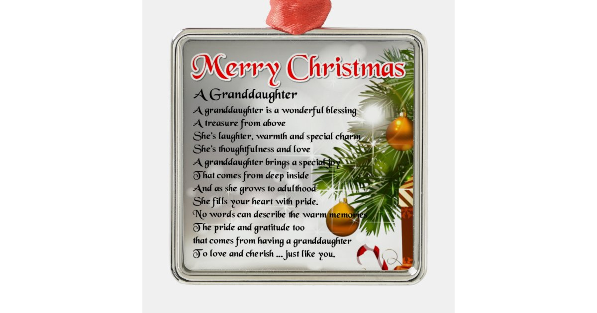 Granddaughter Poem Christmas Design Metal Ornament