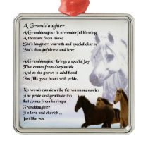 Granddaughter Poem - Horses Design Metal Ornament