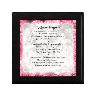 Granddaughter Poem - Pink Floral Design Jewelry Box