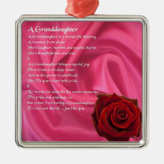 Granddaughter Poem - pink silk & rose Silver-Colored Square Decoration