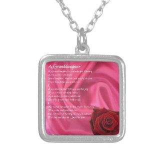 Granddaughter Poem - pink silk & rose Square Pendant Necklace