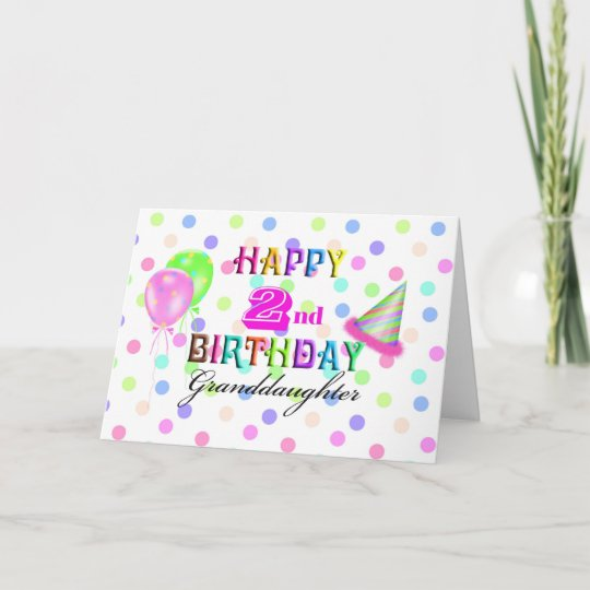 Granddaughter Polkadot 2nd Birthday Card