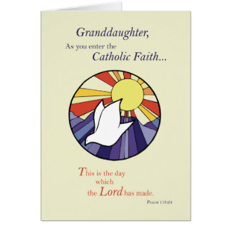 Granddaughter RCIA Catholic Dove Sun Circle, Rite Card