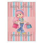 Granddaughter Shopping Birthday Card - Cute Female