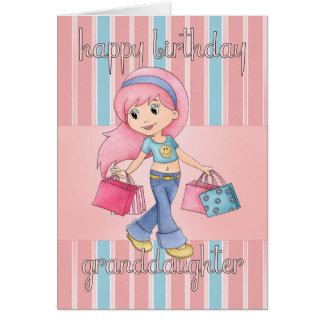 Granddaughter Shopping Birthday Card - Cute Female