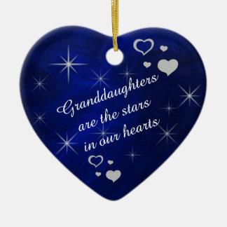 Granddaughter Star Heart Keepsake Ceramic Ornament