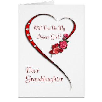 Wedding Gift For Granddaughter : Granddaughter, Swirling heart Flower Girl invite Card
