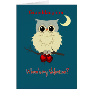 Granddaughter Valentine's Day Cute Owl Humor Card