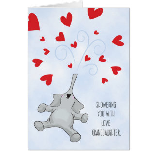 Granddaughter Valentine's Day Elephant & Hearts Card