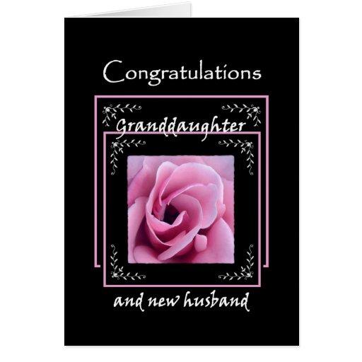 GRANDDAUGHTER Wedding Congratulations - Pink Rose Greeting Card