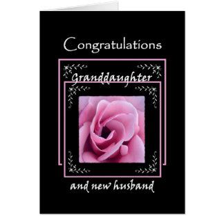 GRANDDAUGHTER Wedding Congratulations - Pink Rose Greeting Card