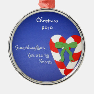 Granddaughter, You are my Heart. Round Metal Christmas Ornament