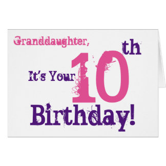 Granddaughter's 10th birthday in purple, pink. card