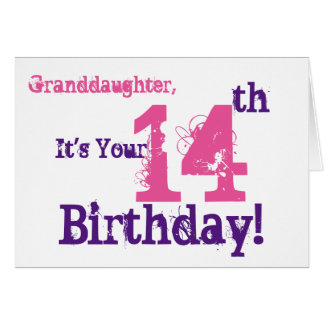 Granddaughter's 14th birthday in purple, pink. card