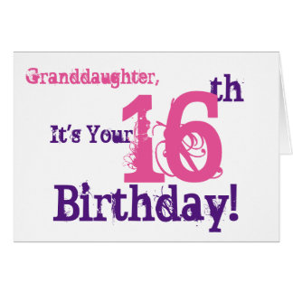 Granddaughter's 16th birthday in purple, pink. card