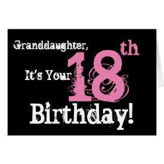 Granddaughter's 18th birthday, black, white, pink. card