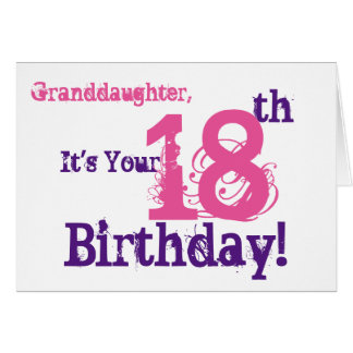 Granddaughter's 18th birthday in purple, pink. card