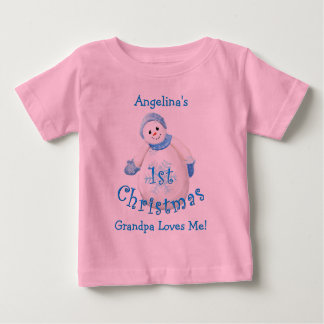 Granddaughter's 1st Christmas Snowman from Grandpa Baby T-Shirt