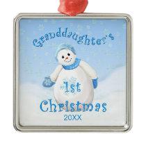 Granddaughter's 1st Christmas Snowman Ornament